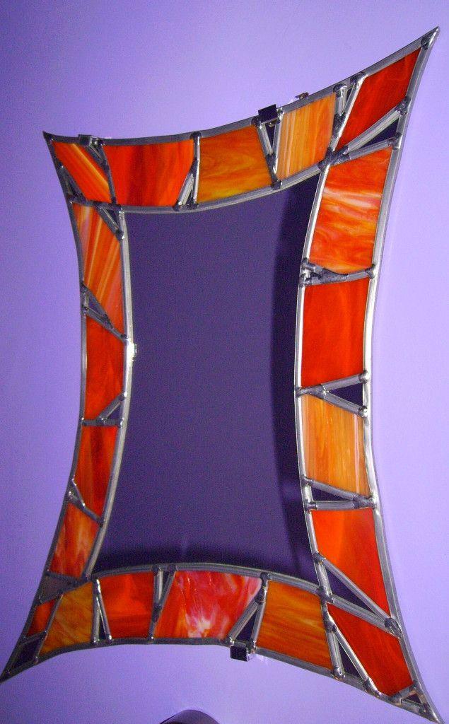 Vitrail miroir contemporain orange éclats miroir : Vitraux d'Art Vanessa Dazelle