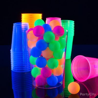 Play glow-in-the-dark beer pong!