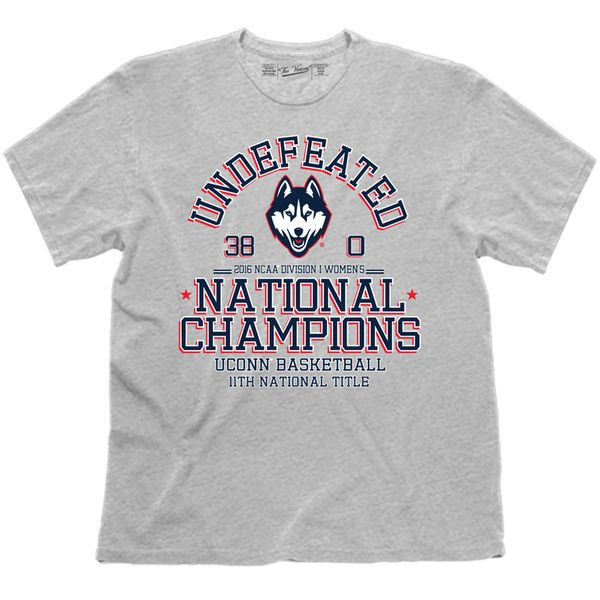 UConn Huskies The Victory 2016 NCAA Women's Basketball National Champions Undefeated T-Shirt - Heathered Gray