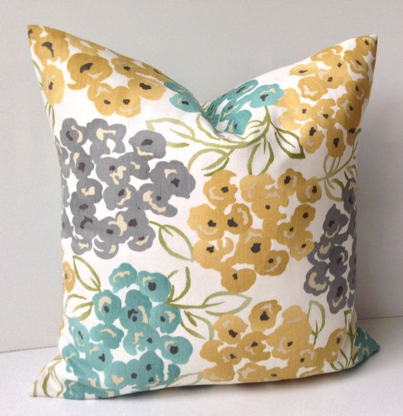 Decorative Throw Pillow Cover Cushion Accent Gray Yellow Pillow Teal Floral 16, 18 or 20 Inches ...