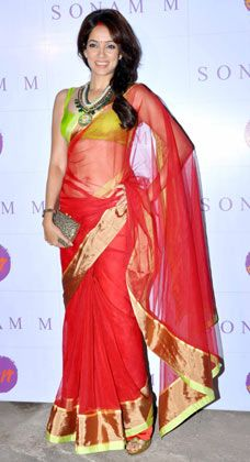 Vidya Malvade carrying an invintage clutch and wearing a Picture neckpiece in 2013