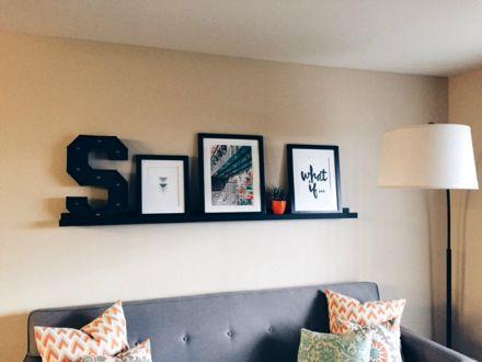 shelf art over couch