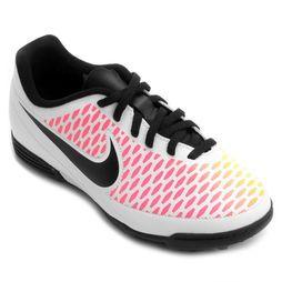 Chuteira Nike Magista Ola TF Society Infantil - Branco+Pink