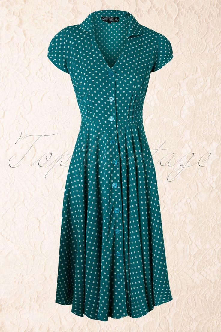 Bunny - 50s Harriet Shirt Dress Teal