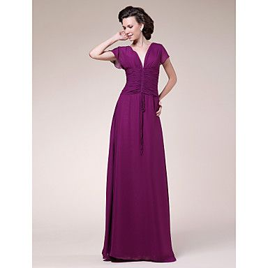 Sheath/Column V-neck Floor-length Chiffon Mother of the Bride Dress  – USD $ 119.99