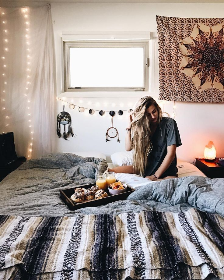 Boho Bohemian Bedroom Lights Bed Dreamcatcher Tapestry Blanket Window  Breakfast Lazy Morning Apartment Interior Design Decor