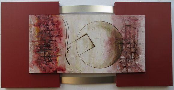 Cores: vermelho queimado e os tons que se ve na foto.  Painel( tela) 60x120cm, 4cm de espessura, uma tela sobreposta, 40x 80cm,  Quadro abstrato moderno, tela com pintura acrílica com textura   Modelo de quadro abstrato ideal  para sala, quarto ou escritório.  O FRETE É POR CONTA DO COMPRADOR    ESTE MODELO SERA ENVIADO MONTADO, DO JEITO QUE ESTÁ NA FOTO.  IRÁ POR TRANSPORTADORA DE NOSSA CONFIANÇA  O PRAZO DE ENTREGA É CONFORME O CEP DE CADA CLIENTE.  PODERÁ ME PERGUNTAR O VALOR DO FRETE E…