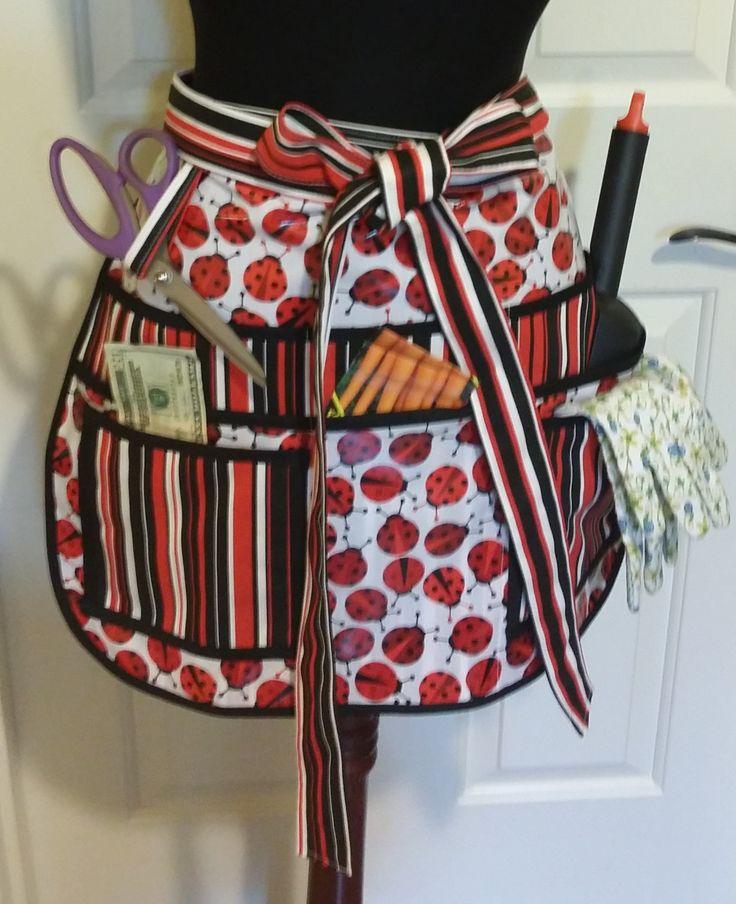 Laminated Utility, Garden, half Apron, Sturdy, 8 pockets, Vendors, Sewing, Crafts, ladybug pattern, red black strips by jewellgem on Etsy