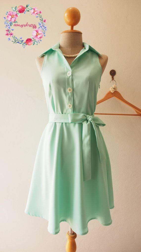 DOWNTOWN  Modern Vintage Mint Green Shirt Dress Summer Dress