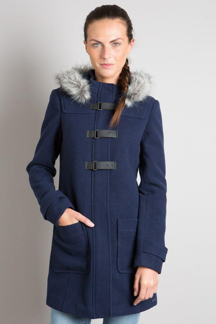 Manteau femme mi-long capuche fourrure