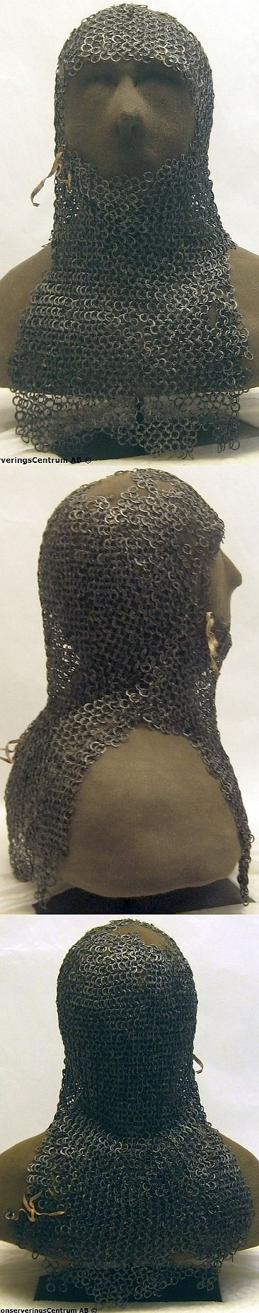 European riveted mail coif, found intact in the tower room of Tofta Church, a medieval Lutheran church on the Swedish island of Gotland Sweden. The hood is unique in that it is exceptionally well preserved, and because it has original leather straps. The hood has been carbon 14 dated to the 1200s, conservation was commissioned in 2007 to preserve, assemble and analyze the hood, the work was completed in Dec 2008 and the hood was put on exhibit in Tofta church in Jan 2009, restored view.