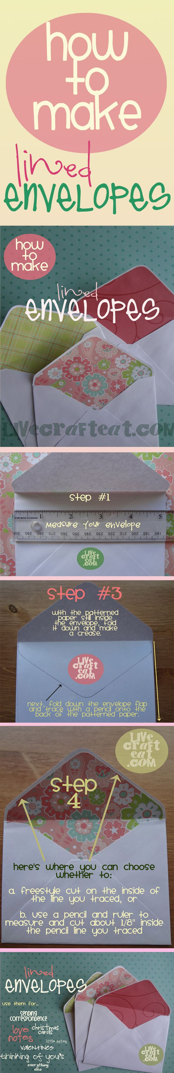 How To Make Lined Envelopes...the easy way.  Now you can have a lovely matching envelope for all your wonderful homemade cards!  Instructions included.