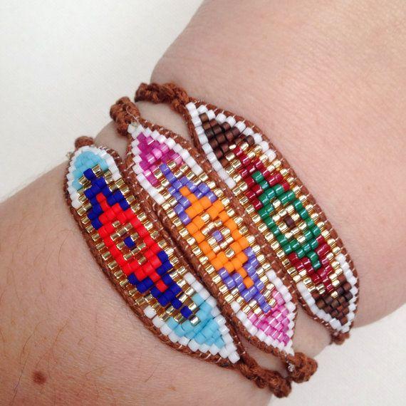 Seed Bead Evil Eye Macrame Bracelet Ready to Ship