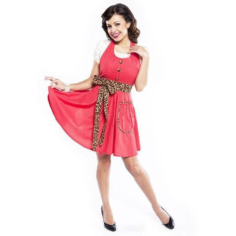 Red with leopard sash.  How can you resist this stylish apron design!  Cook up something good in this little number.