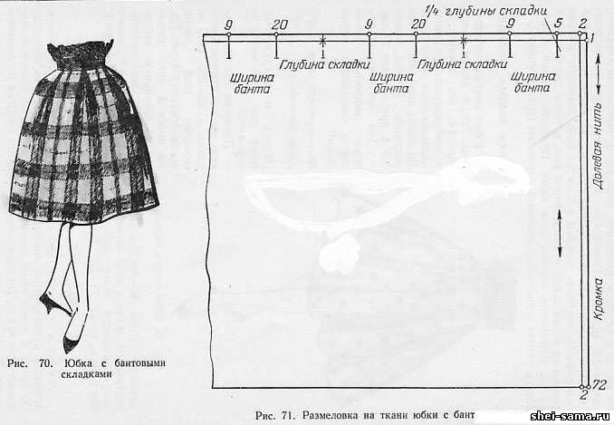 Выкройка юбки с бантовыми складками: схема пошива