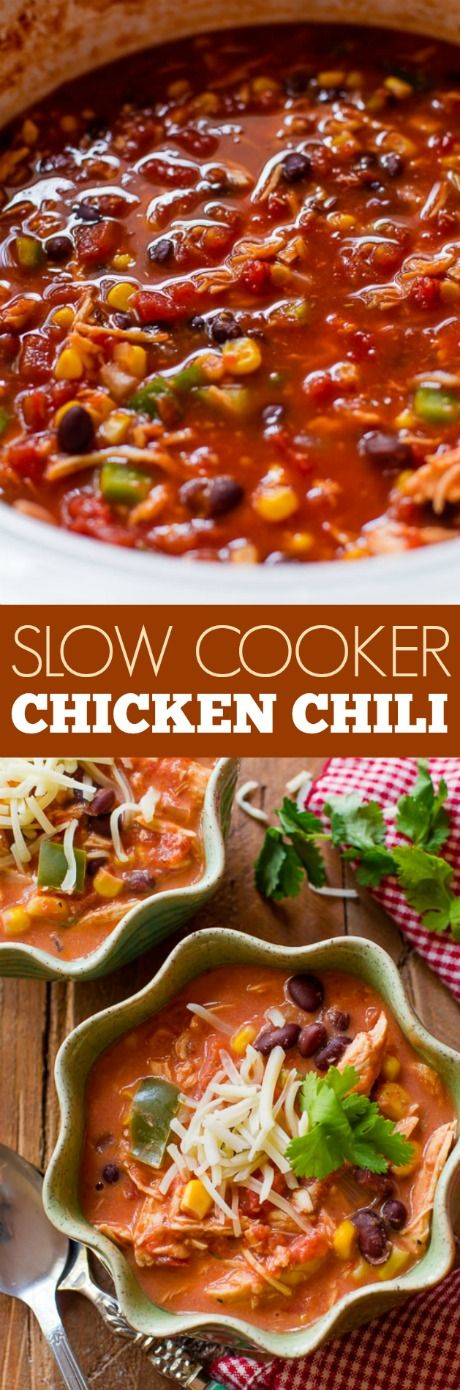 Set it and forget it Slow Cooker Chicken Chili! This is my favorite easy weeknight dinner recipe on sallysbakingaddiction.com