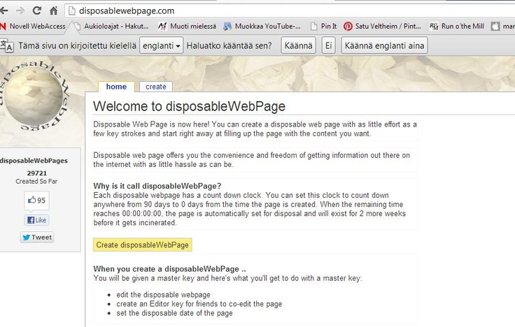 Disposable WebPage sopii parvityöskentelyyn. Hyvät muokkausmahdollisuudet ja helppo käyttöliittymä.