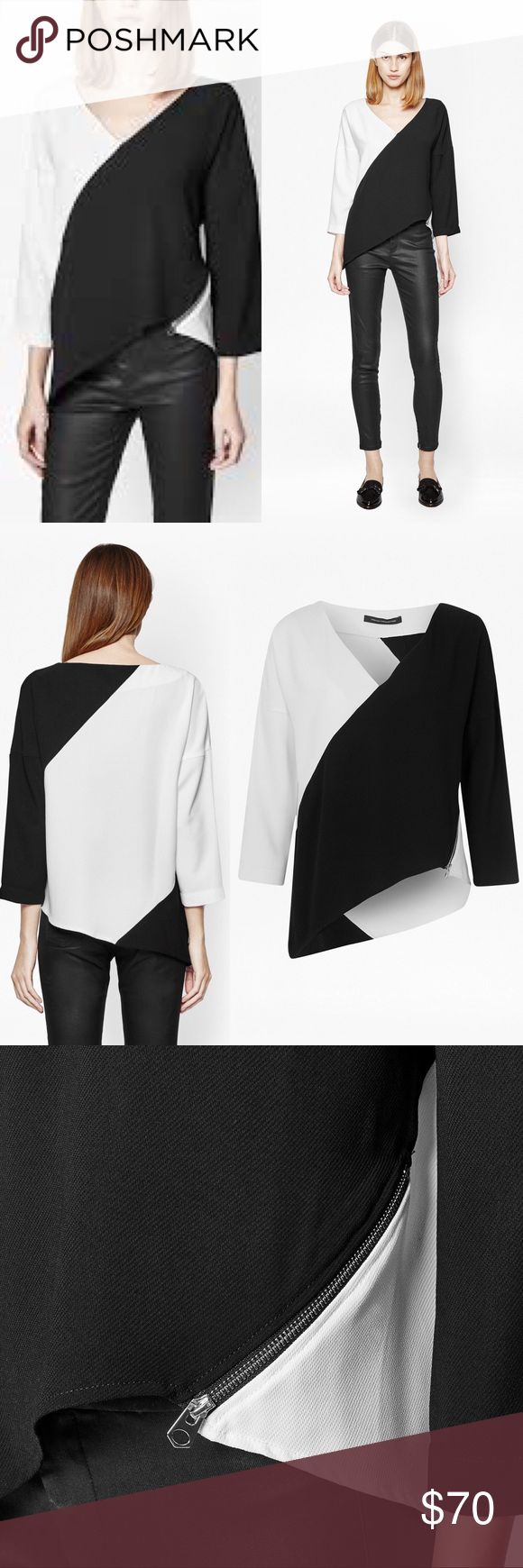 """French Connection Arrow Asymmetric Top Team this ultra-modern asymmetric top with gently flared bootcut trousers for a fresh new silhouette. Monochrome top with colour-blocked panels Front side functioning diagonal zip Asymmetric hemline V-neckline 3/4 length sleeves 21"""" underarm to underarm and 21.5"""" L with additional 5"""" at side French Connection Tops Blouses"""