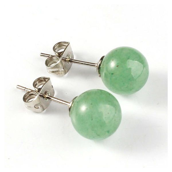 Jade Stud Earrings,Jade Earring Studs,Trendy gifts,best of etsy,semi... (21 CAD) via Polyvore featuring jewelry, earrings, green jewelry, semi precious stone jewellery, semi precious jewellery, green jade earrings and green jade jewelry