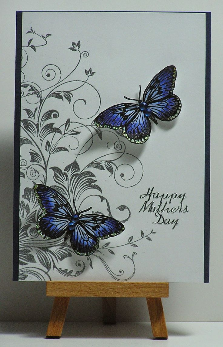 """By Cathy. Hero Arts """"Leafy Vines"""" stamp -- stamp in black & heat emboss with clear powder -- or VersaMark and heat emboss with silver powder. Add die-cut butterflies."""