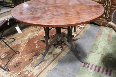 48 dining round table hammered copper top with solid iron for Really cool dining tables