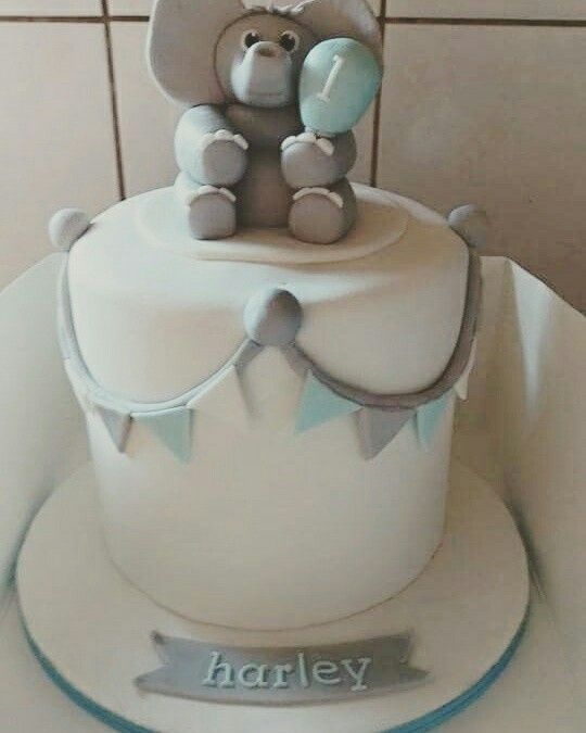 First birthday and christening cake. #christening #birthday #elephant #bunting #babyboy #boy #blue #grey #circus