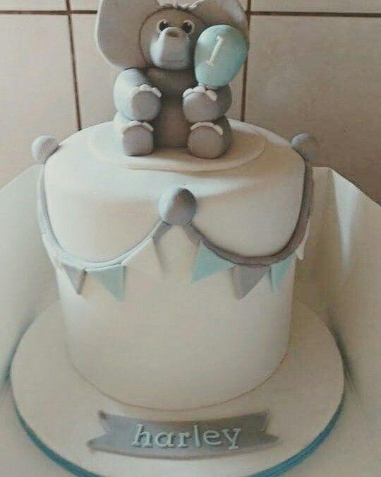 First birthday and christening cake. #christening #birthday #elephant #bunting #babyboy #boy #blue #grey #circus