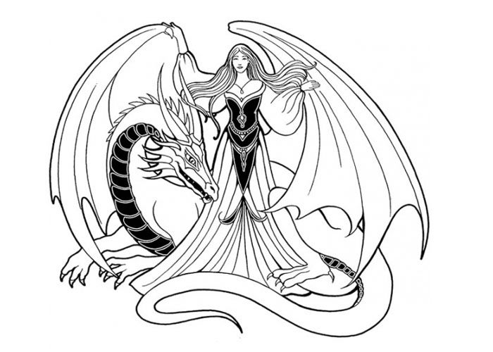 Printable coloring pages for adults dragon and wizard girl coloring