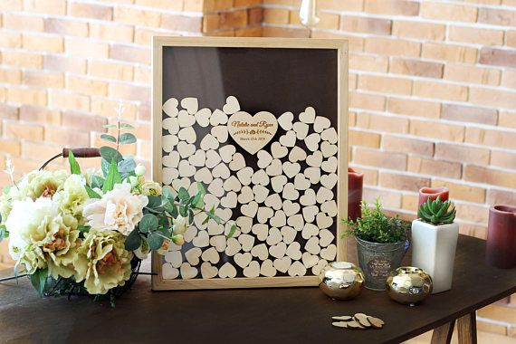 Wedding Guest Book Alternative Rustic Guest book Heart