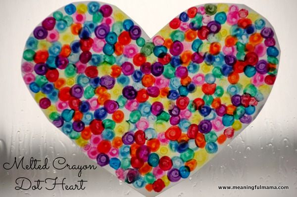 Melted Crayon Dot Heart.  You can also use a warm trivet or pizza stone,  I used a warm marble cutting board.