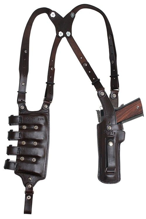 3b. BH4D4 VERTICAL Double Shoulder and Quad magazine carrier Rig, Military & Law Enforcement Shoulder Holster