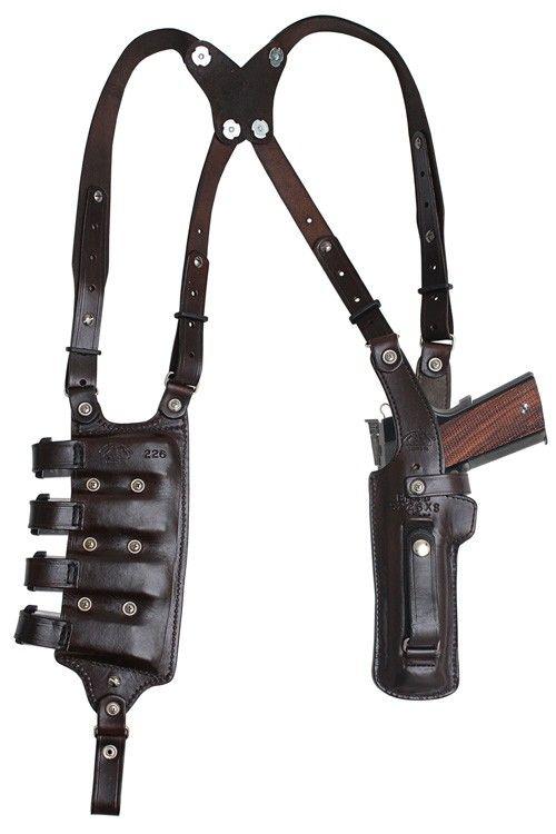 3b. BH4D4 VERTICAL Double Shoulder and Quad magazine carrier Rig, Military & Law Enforcement Shoulder Holster