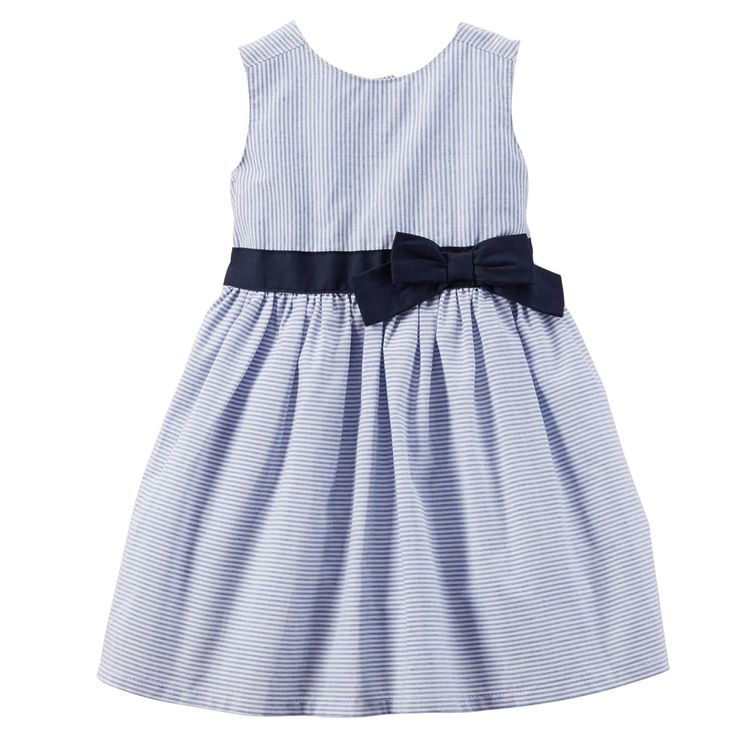 With pretty stripes, a contrast bow and taffeta lining, this poplin dress is perfect for Easter Sunday.