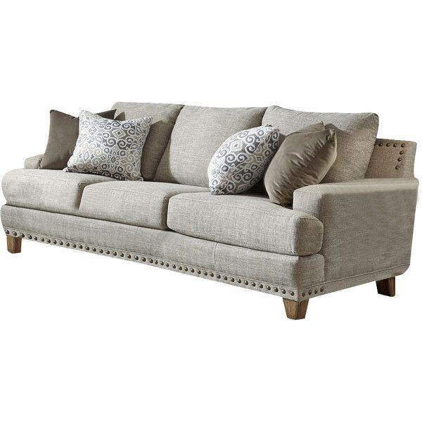Nail head trim neutral couch