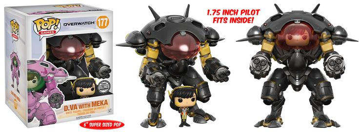 Overwatch: Carbon Fiber D.VA with Meka Pop figure by Funko, Blizzard Gear exclusive