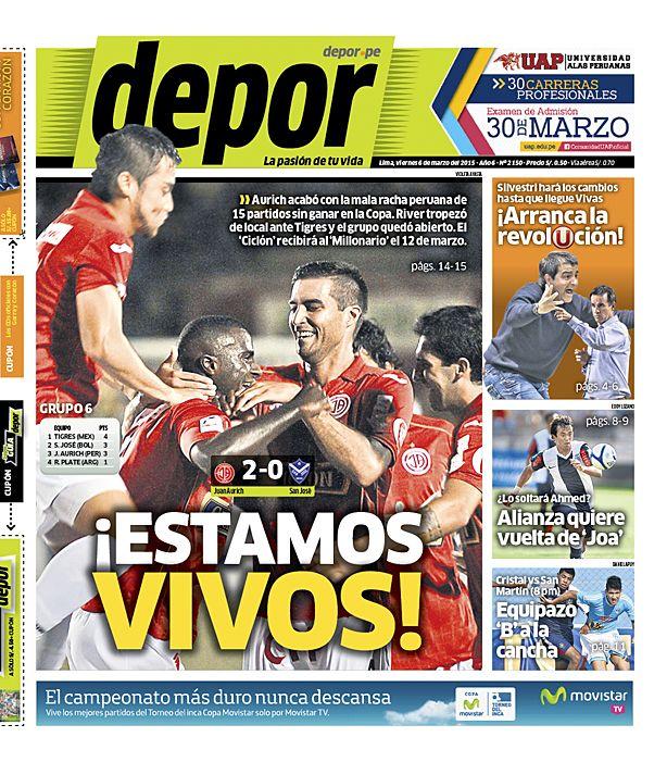 La Portada Impresa Depor del Dia 2015-03-06 del mejor diario deportivo del Peru y el Mundo en Depor.pe
