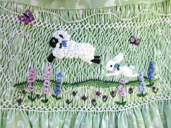 Hand Embroidered Hand Smocked Girls Dress Size by rabbitwhiskers, $190.00 beautiful smocking design