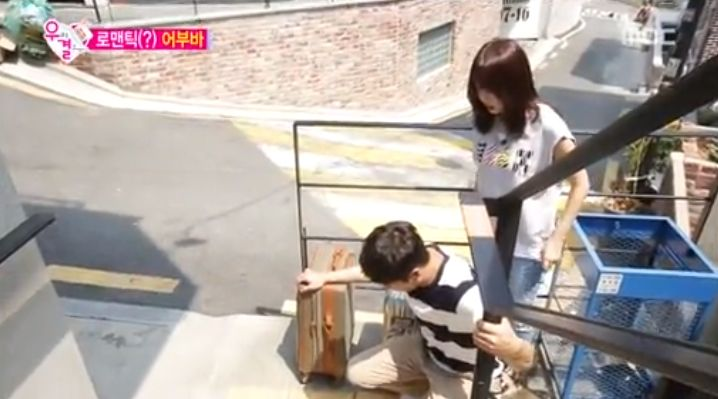"""Oh Min Seok Gives Kang Ye Won a Piggyback Ride Up to Their New Home on """"We Got Married"""""""