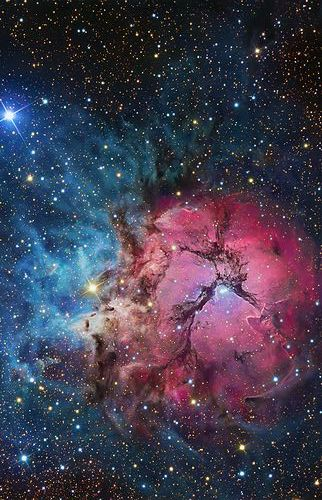 ~~The Trifid Nebula (catalogued as Messier 20 or M20 and as NGC 6514) is located in Sagittarius. Its name means 'divided into three lobes'. The object is an unusual combination of an open cluster of stars; an emission nebula (the lower, red portion), a reflection nebula (the upper, blue portion) and a dark nebula (the apparent 'gaps' within the emission nebula that cause the trifurcated appearance | Wikipedia~~