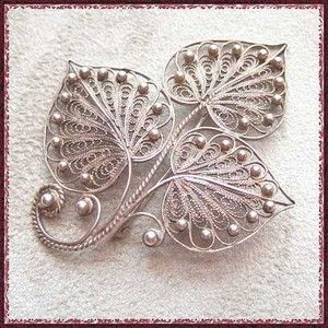 Russian Silver Leaf Pin Big Hand Made Filigree Brooch 1950s Vintage Jewelry