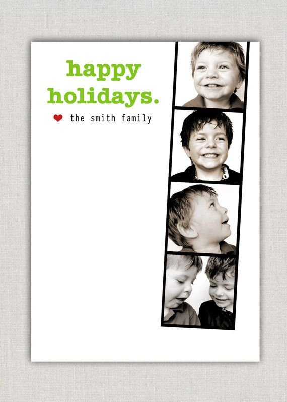 We love this photo booth card!  The simplicity of it makes the pictures stand out and highlights the darling kiddos!  Christmas   Christmas Card   Photo Strips