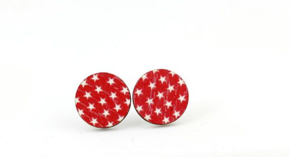 Red and White Stars Wood Stud Earrings 15mm - Round Earrings