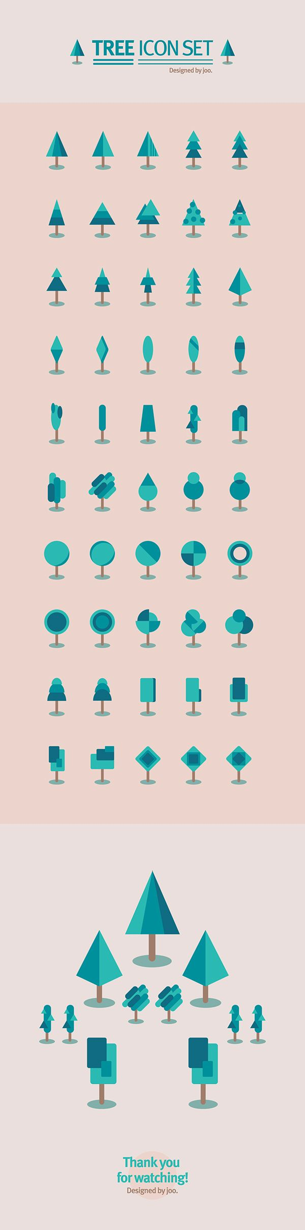 50 tree icon set on Behance