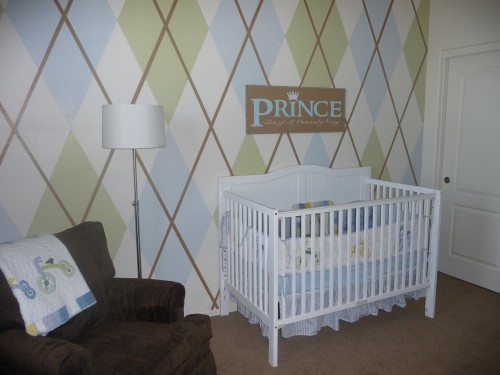I love the Argyle walls! If baby is a girl cream with pink, brown and green argyle room.