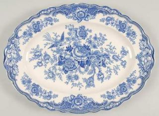 Crown Ducal Bristol Blue 14 Oval Serving Platter, Fine China Dinnerware Blue