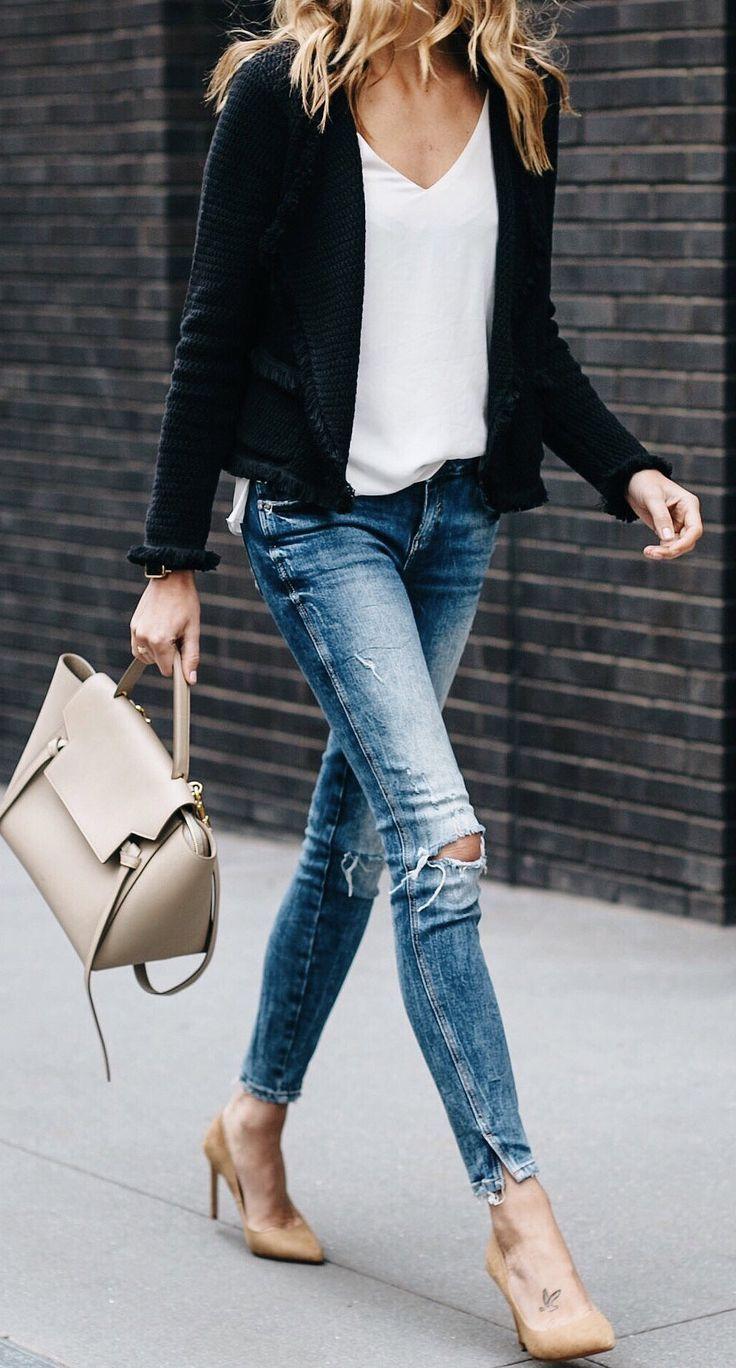 #spring #outfits Black Jacket & White Top & Destroyed Skinny Jeans & Nude Pumps