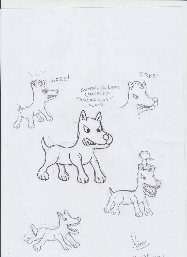 desain karakter anjing liar ilalang