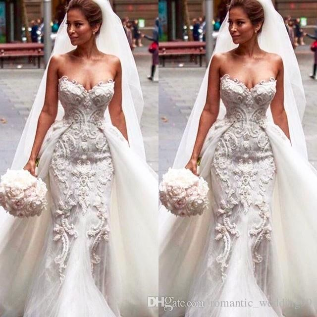 Custom Made Hot Luxury Sexy Mermaid Lace Wedding Dresses with Detachable Train 2016 Luxury Mermaid Wedding Dress Detachable Train Wedding Dress Custom Made Online with 314.29/Piece on Romantic_wedding99's Store | DHgate.com