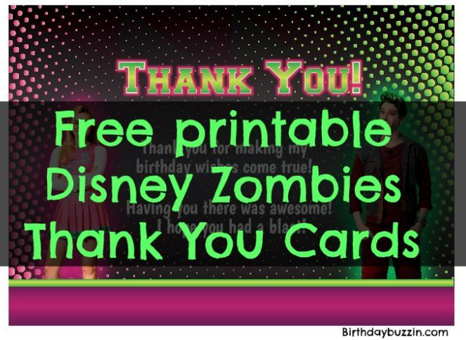 Free Printable Disney Zombies Thank You Cards Zombie Birthday Parties Party 11th