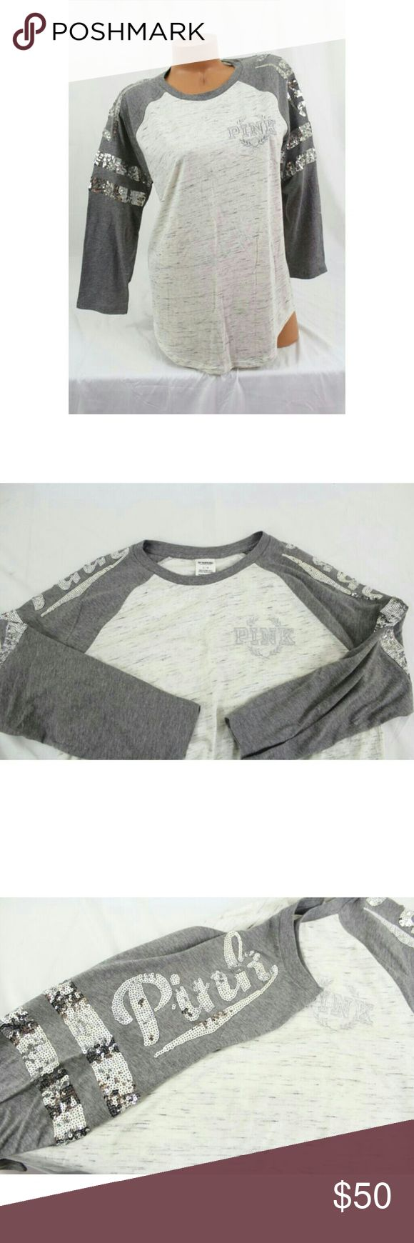 """❗Accepting Offers❗ Victoria's Secret Pink ~BLING Baseball Tee~Marled Gray-sleeve silver Hard to find. New. Never worn.   ~?Pink ~ by?Victoria's Secret Baseball Tee shirt Featuring silver embroidered crest logo and silver sequins :)  """"Contrast sleeves make this style a win-win. Curved bottom hem and ? sleeves for an athletic look.?""""  Relaxed, easy fit, Classic cotton jersey blend.  Size small but will fit medium. PINK Victoria's Secret Tops"""